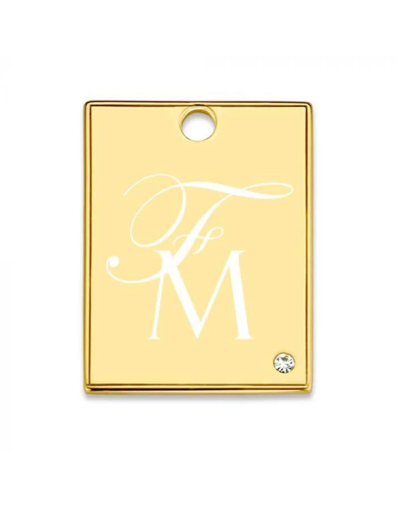 Mi Moneda Monogram MMM Avo Rectangle Tag 20mm Goudkleurig