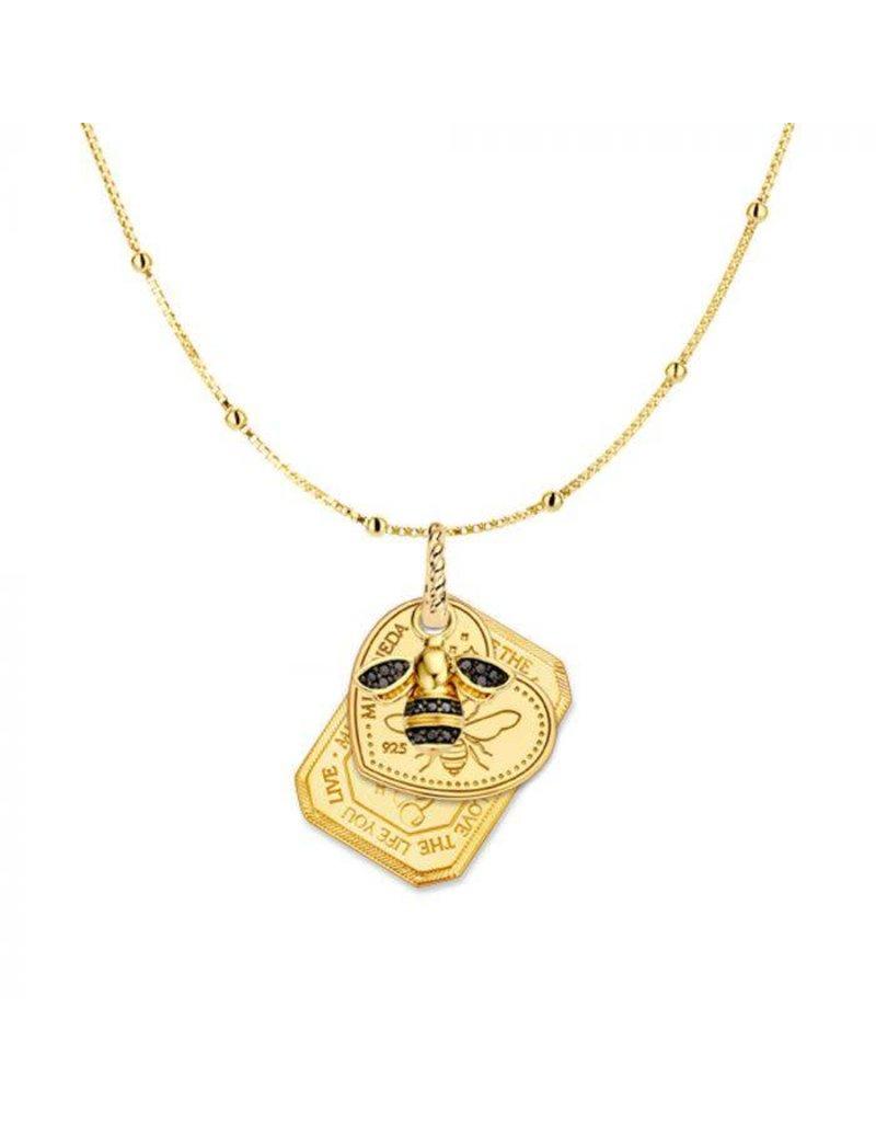 Mi Moneda Monogram MMM Bee Necklace Set Goudkleurig