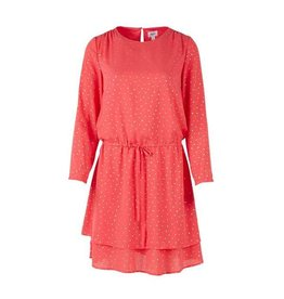 Saint Tropez Saint Tropez T6069 Dotted Dress With Drawstring Coral Red