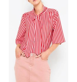 Saint Tropez Saint Tropez T1081 Striped Woven Top Tomato