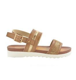 Fabs Shoes Fabs Sandals Cognac Sparkle
