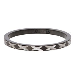 iXXXi Jewelry iXXXi Jewelry Vulring 2mm X Row Zwart