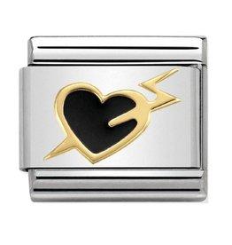 Nomination Nomination 030283/14 Love heart With Lightning Black 18k Goud