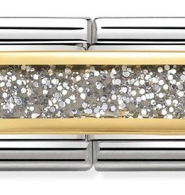 Nomination Nomination 030720/02 Double Engraved Glitter Rectangle Silver 18k Goud