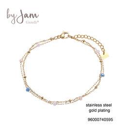 By Jam Gioielli By Jam Armband Blauw-Goudkleurig