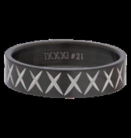 iXXXi Men iXXXi Jewelry Men Cross Line Mat Zwart 6mm