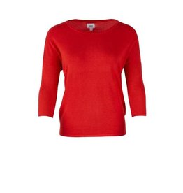 Saint Tropez Saint Tropez A2561 Knit Blouse With Rib Sleeve Red