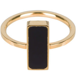 Charmin*s Charmin's R537 Fashion Seal Rectangle Gold Steel With Black Stone