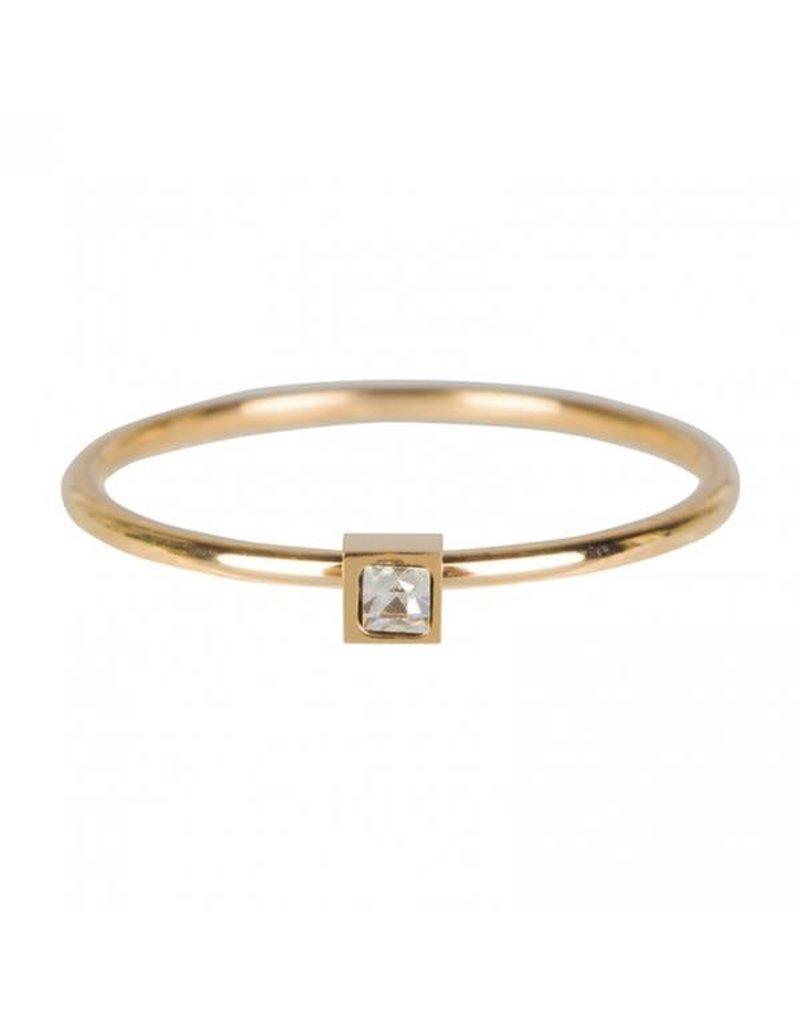 Charmin*s Charmin's R501 Stylish Square Gold Steel Crystal CZ