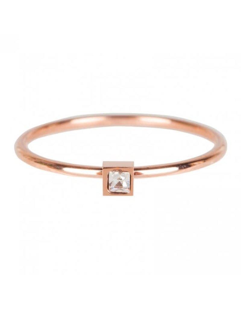 Charmin*s Charmin's R502 Stylish Square Rosé Gold Steel Crystal CZ