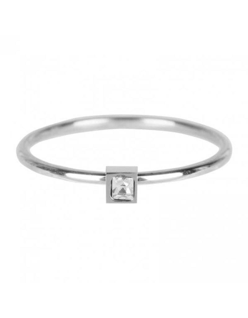 Charmin*s Charmin's R500 Stylish Square Shiny Steel Crystal CZ