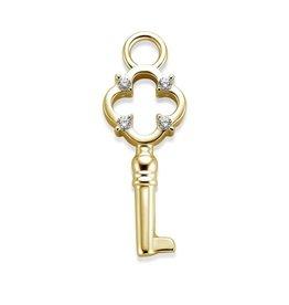 Mi Moneda Monogram MMM Charm Key With Zirconia Crystal Goudkleurig