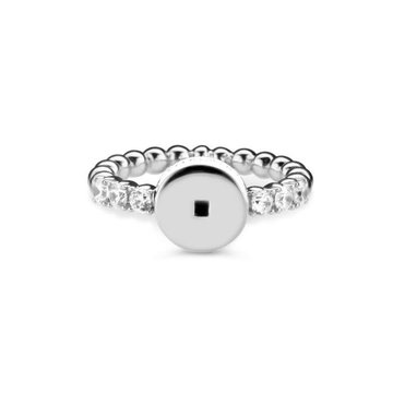 Mi Moneda MMV Icons Ring Round With White Swarovski Crystals Zilver