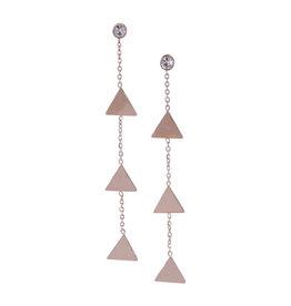 Kalli Kalli Lange Oorbellen Triangle Rosé