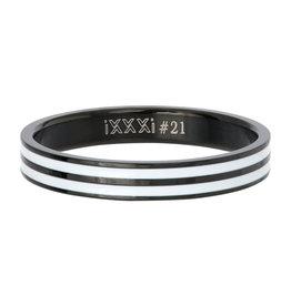 iXXXi Jewelry iXXXi Jewelry Vulring Double Line White Zwart 4mm