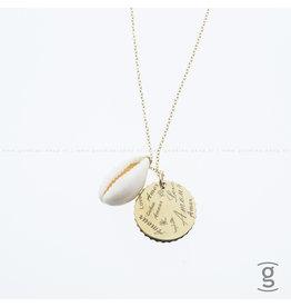 Zag Bijoux Zag Bijoux Long Necklace Shell Coin Goudkleurig