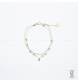 Zag Bijoux Zag Bijoux Double Bracelet Green Beads Goudkleurig