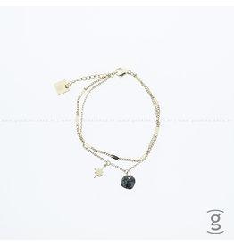 Zag Bijoux Zag Bijoux Double Bracelet Green Stone & Star Goudkleurig