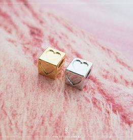 Imotionals Imotionals Silk Cords met Hart-Blokje Zilver