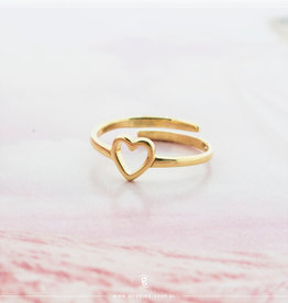Imotionals Imotionals One Size Ring Open Heart Goudkleurig