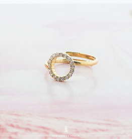 Imotionals Imotionals One Size Ring Circle of Life Crystal Goudkleurig