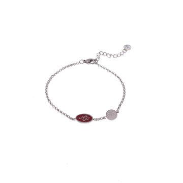 Go Dutch Label GDL Zilverkleurige Armband Rode Bedel 16+3 cm