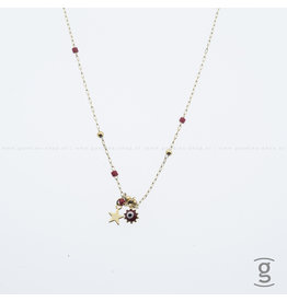 Zag Bijoux Zag Bijoux Necklace Red Star & Sun Goudkleurig