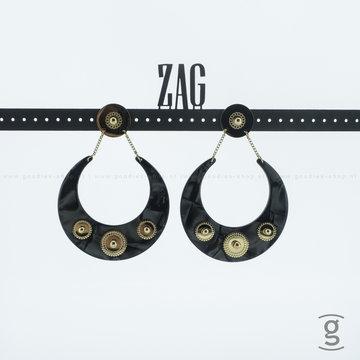 Zag Bijoux Zag Bijoux Earring Black Goudkleurig