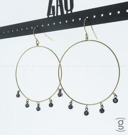 Zag Bijoux Zag Bijoux Earring Tiny Black Beads Goudkleurig