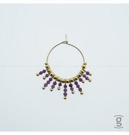 Zag Bijoux Zag Bijoux Earring Fuchsia Beads Goudkleurig