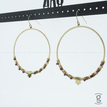 Zag Bijoux Zag Bijoux Earring Fuchsia Beads Bee Goudkleurig