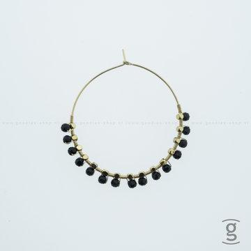 Zag Bijoux Zag Bijoux Creolen Hanging Black Beads Goudkleurig