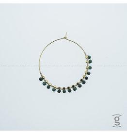 Zag Bijoux Zag Bijoux Creolen Hanging Green Beads Goudkleurig