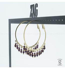 Zag Bijoux Zag Bijoux Creolen Hanging Fuchsia Beads Goudkleurig