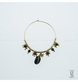 Zag Bijoux Zag Bijoux Creolen Gold-Black Beads Goudkleurig
