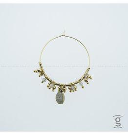 Zag Bijoux Zag Bijoux Creolen Gold-Grey Beads Goudkleurig