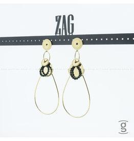 Zag Bijoux Zag Bijoux Earring Fantasy Green Beads Goudkleurig
