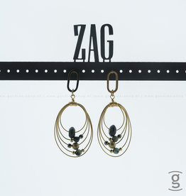 Zag Bijoux Zag Bijoux Earring Oval Rings Green Goudkleurig