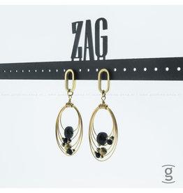 Zag Bijoux Zag Bijoux Earring Oval Rings Black Goudkleurig