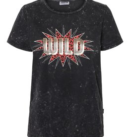 Noisy May Noisy May NM Nate Washed SS T-Shirt Black Detail Wild Print