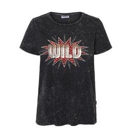 Noisy May Noisy May NM Nate Washed SS T-Shirt Black Detail Wild Print