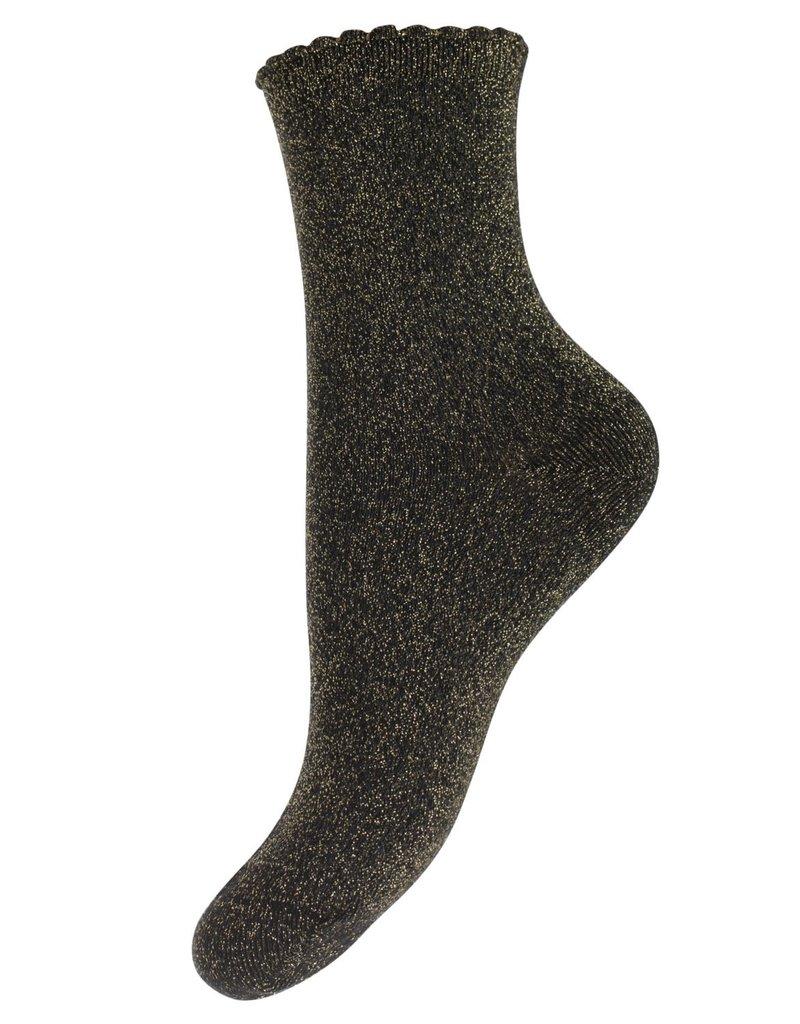 Pieces Pieces PC Sebby Glitter Long Socks Black Gold Color