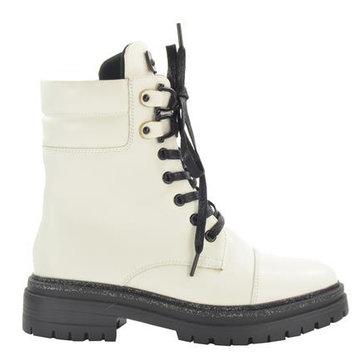 Fabs Shoes Fabs Shoes Enkellaars Wit Met Zwarte Veters