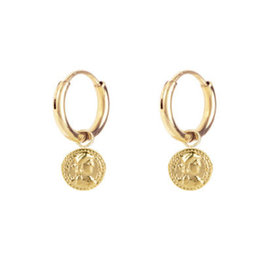 Charmin*s Charmin's E52 Roman Coin Earrings Gold Steel
