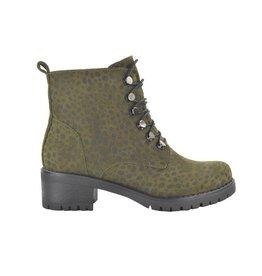 Fabs Shoes Fabs Veterboots Animal Print Groen/Zwart
