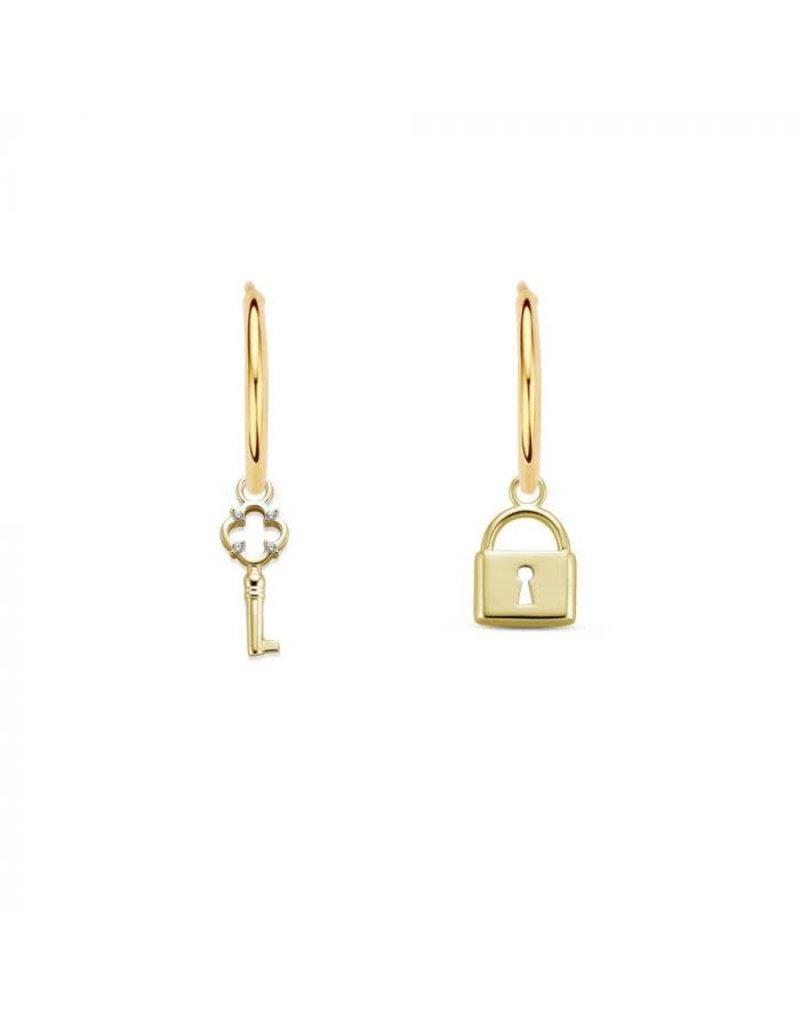 Mi Moneda MMM Lock Earring Set Goudkleurig