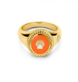 Mi Moneda Vintage MMV Icons Ring Set Shell Oranje/Goudkleurig