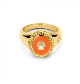 Mi Moneda MMV Icons Ring Set Shell Oranje/Goudkleurig
