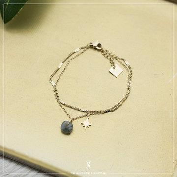 Zag Bijoux Zag Bijoux Bracelet Labradorite Star Goudkleurig