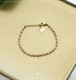 Zag Bijoux Zag Bijoux Bracelet Rose Quartz Stones Goudkleurig